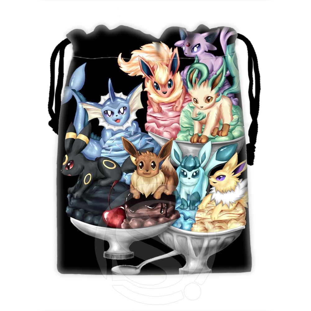New arrive Custom Eevee 15 drawstring bags for mobile phone tablet PC packaging Gift Bags18X22cm SQ00729