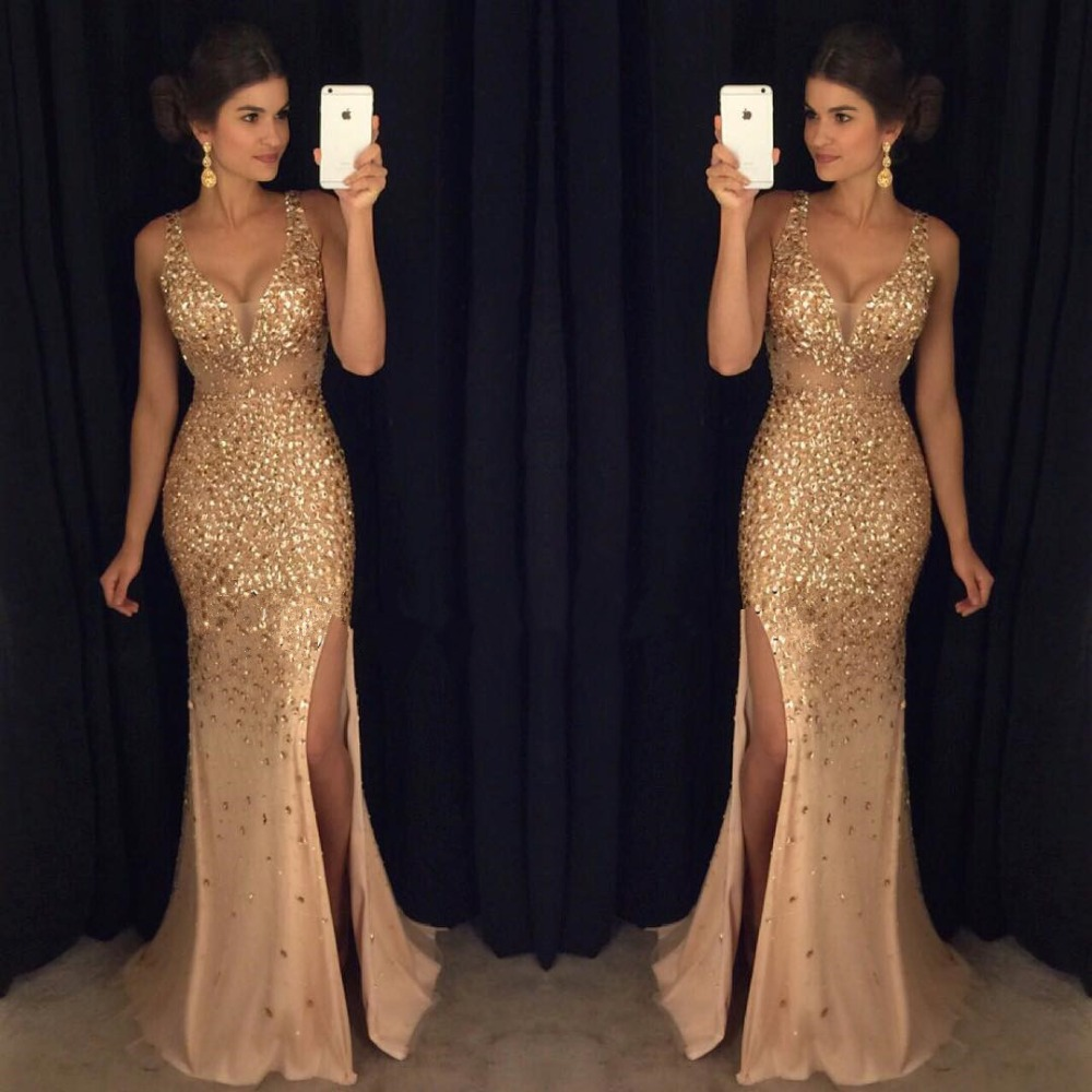 New Luxury Gold Beaded Mermaid Long Slit Sleeveless vestido de noiva V-Neck Prom gown Robe de soiree 2018   bridesmaid     dresses
