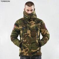Erkek Rahat Parkas Kamuflaj Kalın Sıcak Kış Ceket Erkekler Askeri Kapşonlu Yastıklı Palto Nakış Jaqueta Masculino Inverno