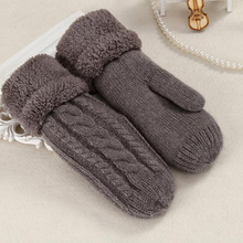 Women Fashion Knit Twist Flowers Mittens Winter Female Wool Plus Cashmere Velvet Thickening Warm Full Finger Gloves Guantes L46 cheap Gloves Mittens NIUPOZ Wrist Solid Adult