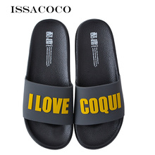 ISSACOCO Summer Men's Slippers Home Slippers Non-slip Slides Bathroom Sandals Upper Letter Man Shoes Pantuflas Terlik Chinelos issacoco 2018 new slippers men shoes sandals summer shoes home slippers man bathroom shoes sandals men pantuflas terlik chinelo