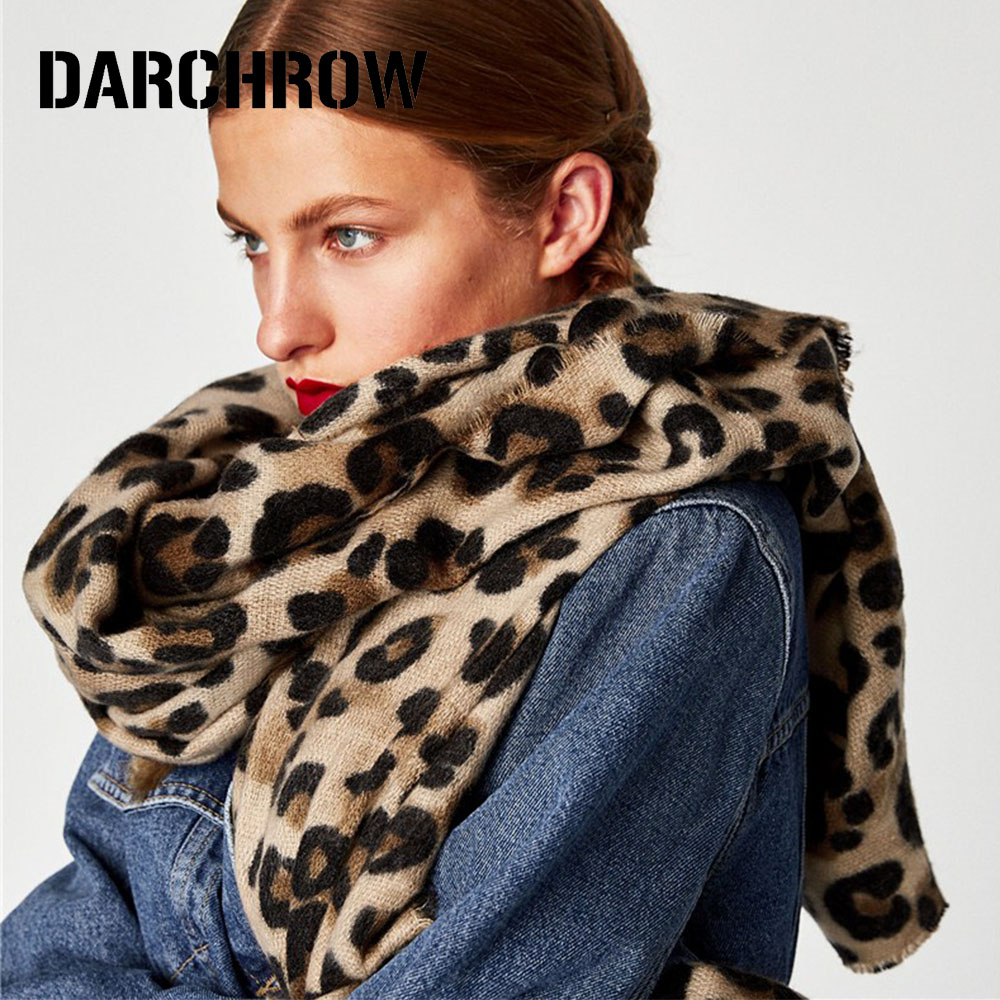 DARCHROW Leopard Printed Scarf Women Winter Blanket Scarf Warm Soft Cashmere Thicken Shawls Scarves for Women Lady-in Women's Scarves from Apparel Accessories