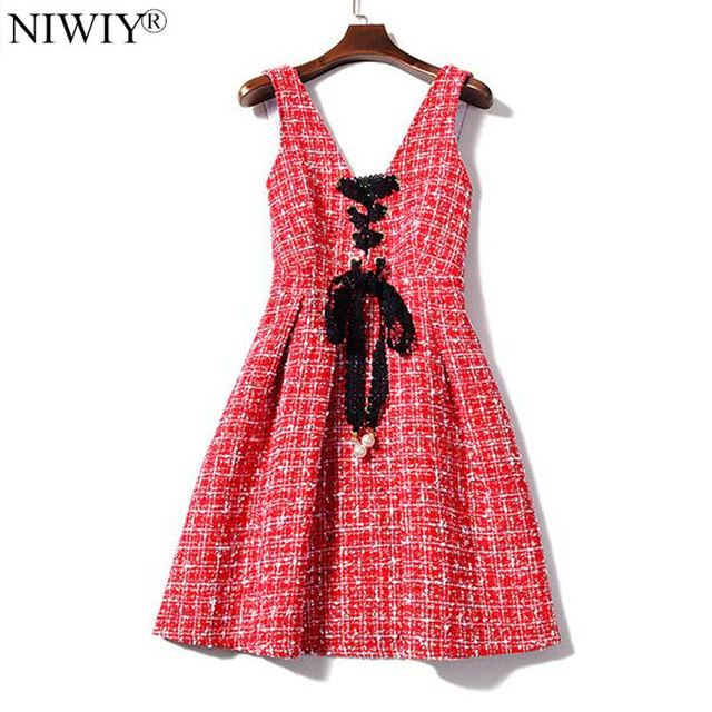NIWIY Brand Womens Dresses New Arrival 2018 Autumn Lace Shirt V-Neck Red  Christmas Party e430f6e3274d