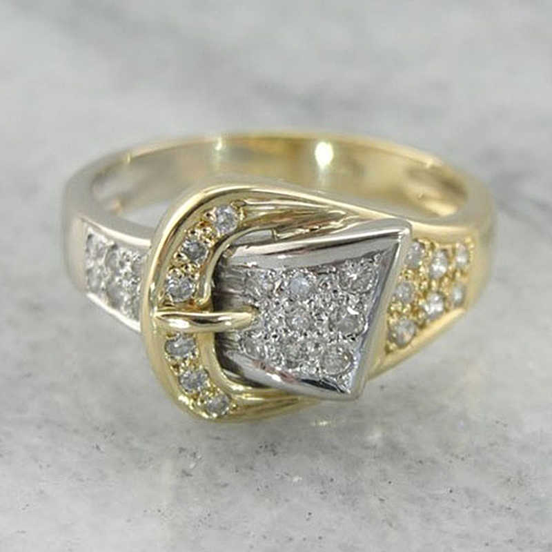 เงาเข็มขัดแหวนสำหรับผู้หญิงประณีตประดับ Cubic Zircon คริสตัล Bijoux Gold สีแหวนผู้ชายเครื่องประดับคุณภาพสูง F5M320