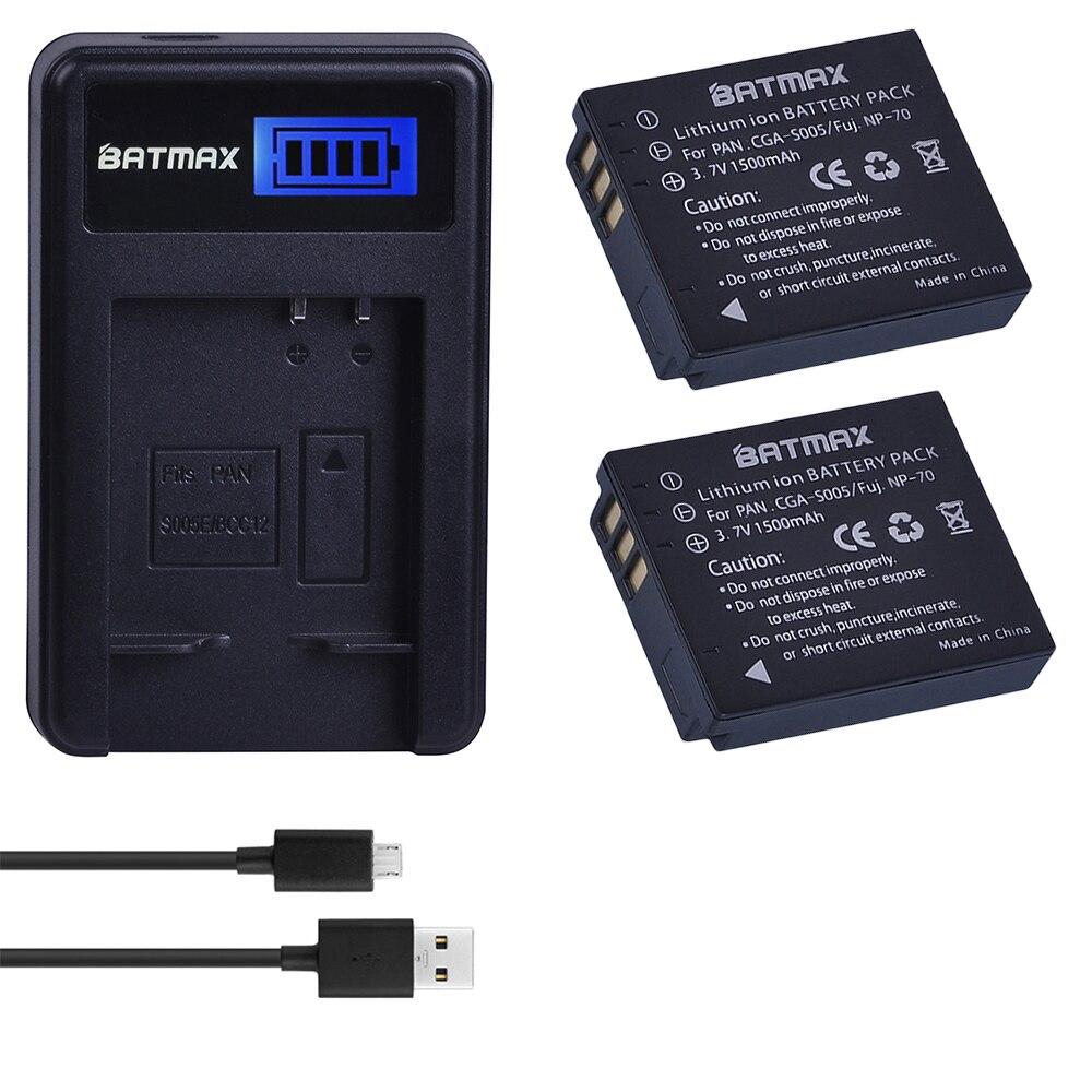2Pc 1500Mah CGA-S005E S005 DMW-BCC12 Battery + LCD USB Charger For Panasonic Lumix DMC-LX1 LX2 LX3 FX3 BCC12 For FUJI NP-70 DB60
