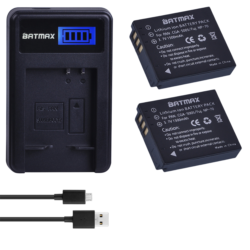 2Pc 1500Mah CGA-S005E S005 DMW-BCC12 Battery + LCD USB Charger for Panasonic <font><b>Lumix</b></font> DMC-LX1 LX2 <font><b>LX3</b></font> FX3 BCC12 For FUJI NP-70 DB60 image