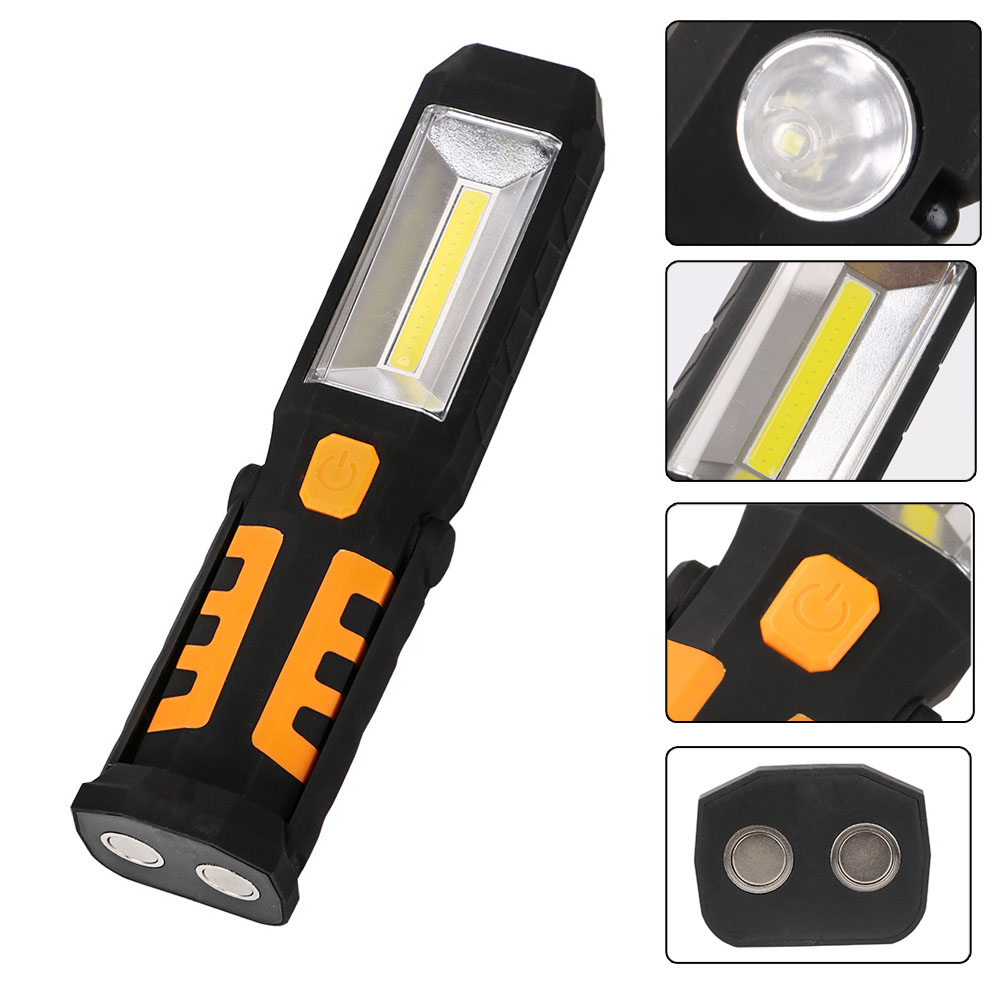 3 Modes COB LED Work Light Magnet Flashlight With Hook Folding Torch LED Flashlight Car Working Lights By 3AAA Battery pvc camping flashlight torch linternas 2 modes led flashlight with bottom magnet and hook use 4 aaa batteries