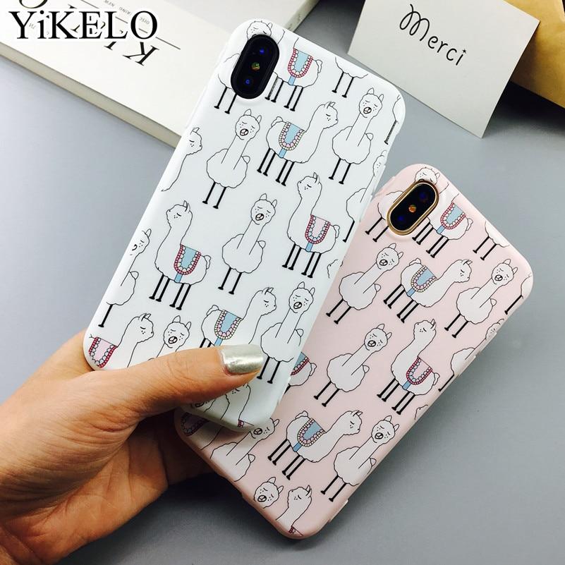 Cute Cartoon Alpaca Animal Phone Iphone X 6 6S 7 Plus Soft TPU Rubber Silicon Cases Back Cover Coque For Iphonex