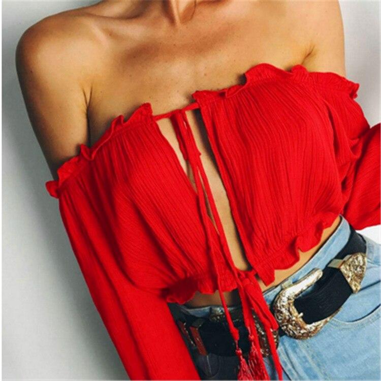 Summer sexy fashion summer club new word collar strapless shirt goddess essential