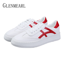 Women Sneakers Genuine Leather Women Shoes Stripe Lace Up Flats Casual Shoes Platform Spring Female Flat 2019 Plus Size DE