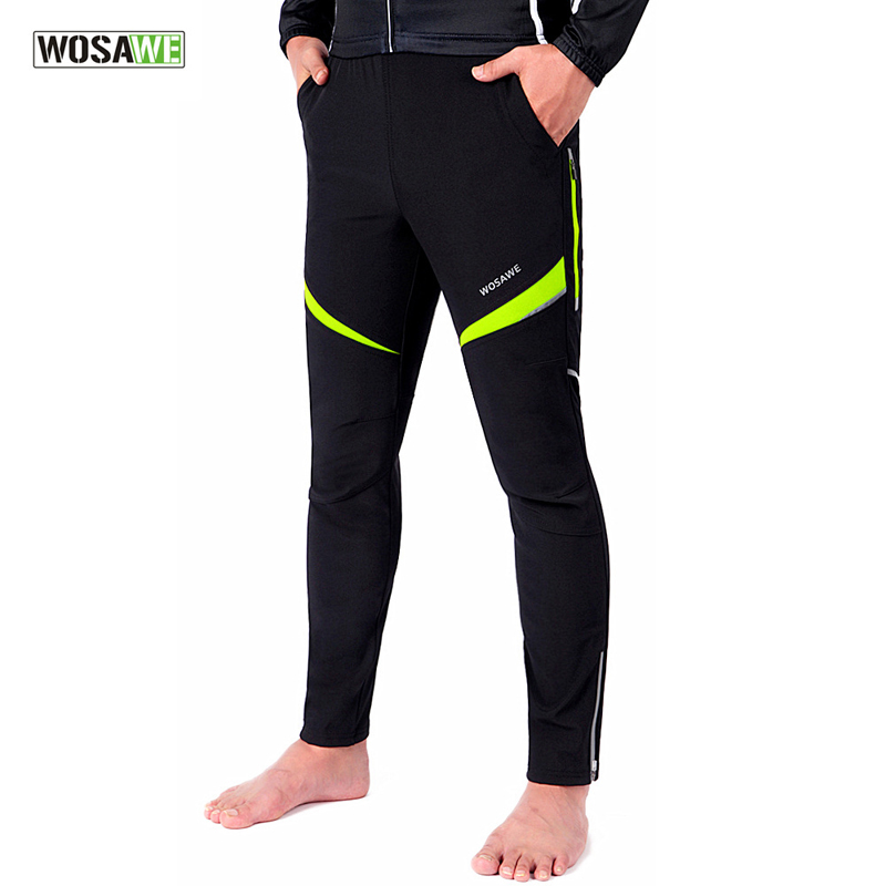 WOSAWE Winter Cycling Pants Men Women Fleece Riding Bike Reflective Windproof Warm Pant MTB Outdoor Sports Wear Clothing F2431 rax 2015 thermal fleece hiking pants for men women winter outdoor sports warm fleece trousers fleece camping pants 54 4f089