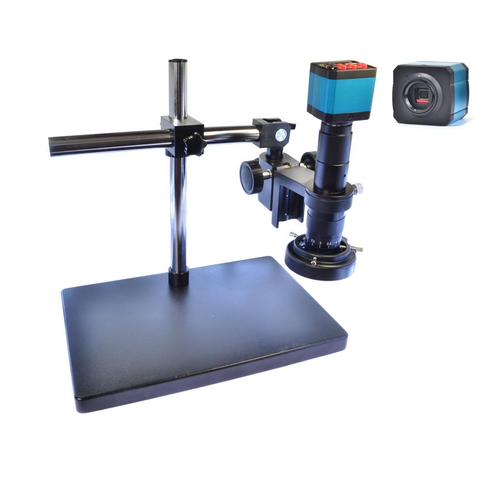 Hayear Settore 14MP HDMI HD USB Digital Video Microscopio Della Macchina Fotografica Grande BoomStand staffa Universale 180X C-MOUNT Obiettivo di 144 HA CONDOTTO LA Luce