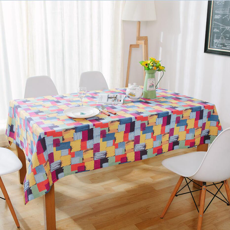 Image 3 - Colorful Plaid Print Tablecloth Cotton Dining Table Cover Thick Cotton Table Cloth Dustproof Wedding Party Kitchen Home Textile-in Tablecloths from Home & Garden