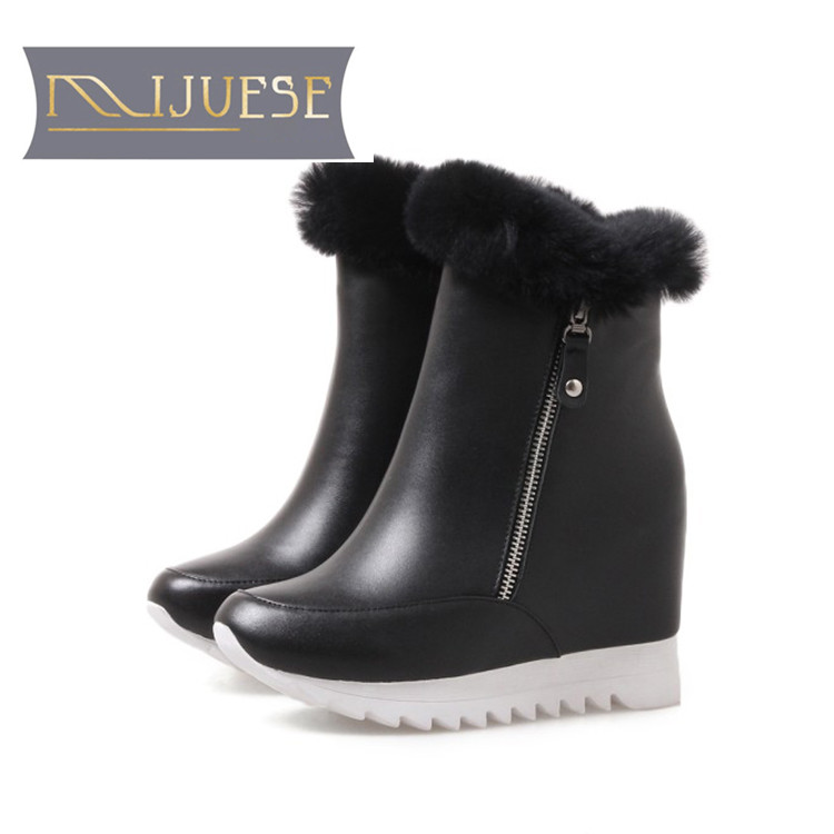 цена на MLJUESE 2019 women Mid calf boots cow leather zippers wool fur warm winter platform wedges short plush women snow boots