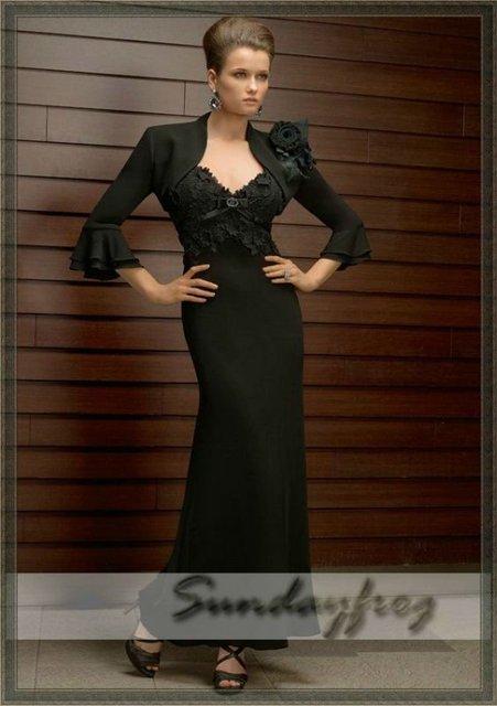 Free Shipping 2012 Custom Made A-Line V-Neck Lace Evening Dress Chiffon  Bolero Jacket Flowers Mother of Bride Maxi Dress -MR51 49281bf240d8