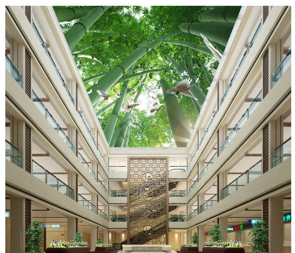 Home decoration bamboo sunshine flying pigeon ceiling roof for 3d roof wallpaper