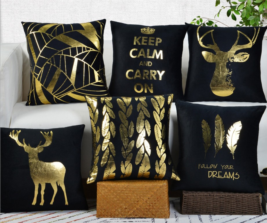 US $3.18 5% OFF|Black Golden Shiny Throw Pillow Cover Deer fur leaf Velvet  Fabric Pillow case Chair Modern Decorative Sofa Cushion Covers B173-in ...