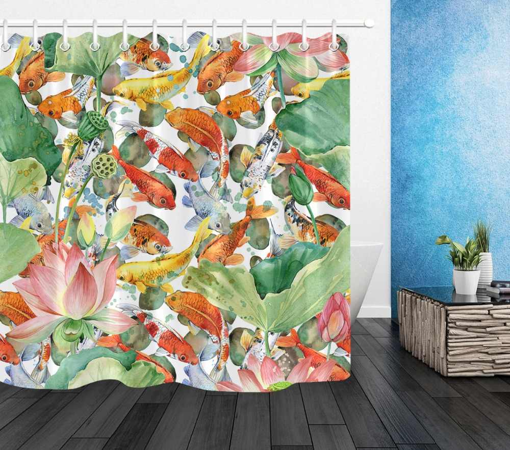 Carp Koi And Flower Lotus Artistic Shower Curtains Bathroom Curtain Watercolor Pond Fish Waterproof Fabric For Bathtub Decor