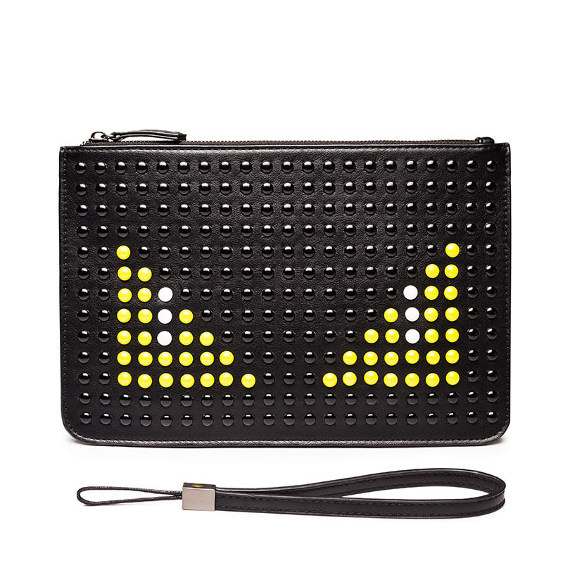 2017 Fashion Brand Men Clutch Bags Handbags PU Leather Studded Envelope Evening Bags Eyes Wristlet Zipper