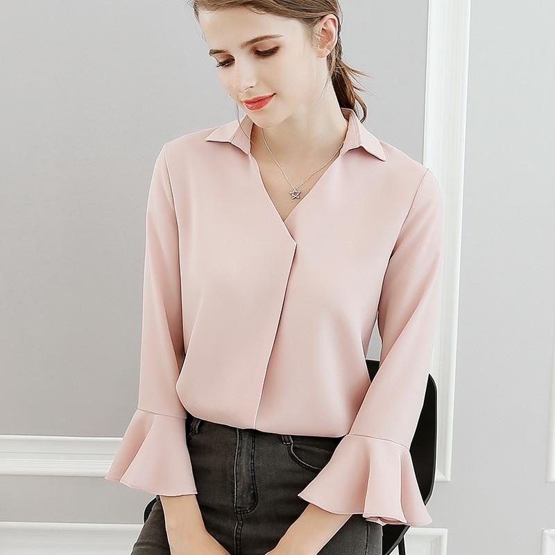 Chiffon   blouse     shirt   New Arrivals 2019 Spring summer v-neck chiffon   shirt   Elegant Slim solid color women tops