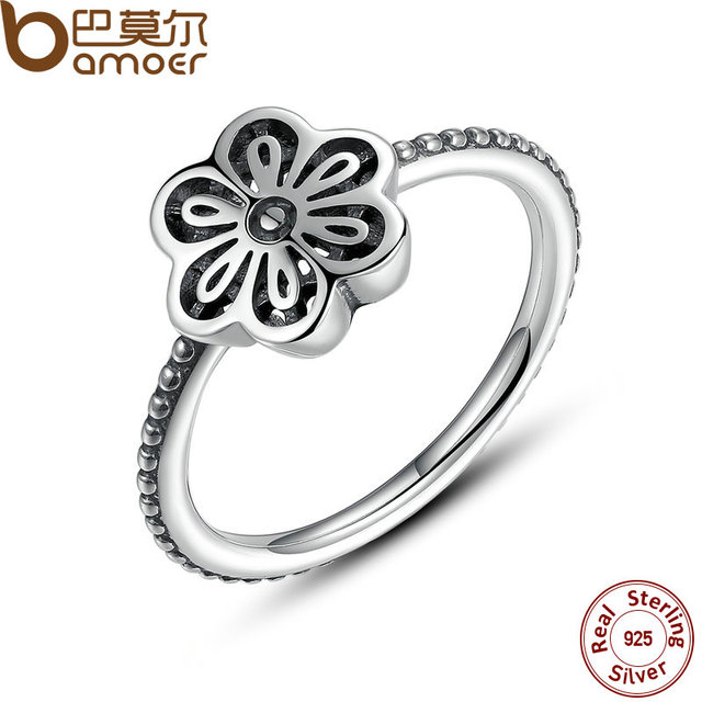 Sterling Silver Flower Floral Daisy Lace Ring