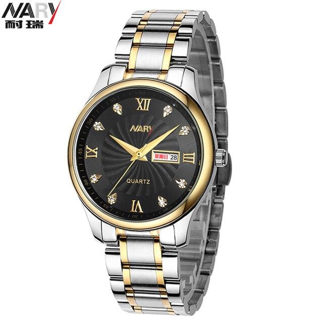 Women And Men Quartz Stainless Steel Watches Rhinestones Couple Wrist Watches Calendar Luxury Brand NARY Lovers Watches