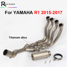 Motoo-61MM Motorcycle Modified titanium alloy Exhaust Muffler with Full System Connecting pipe For YAMAHA R1 2015-2017