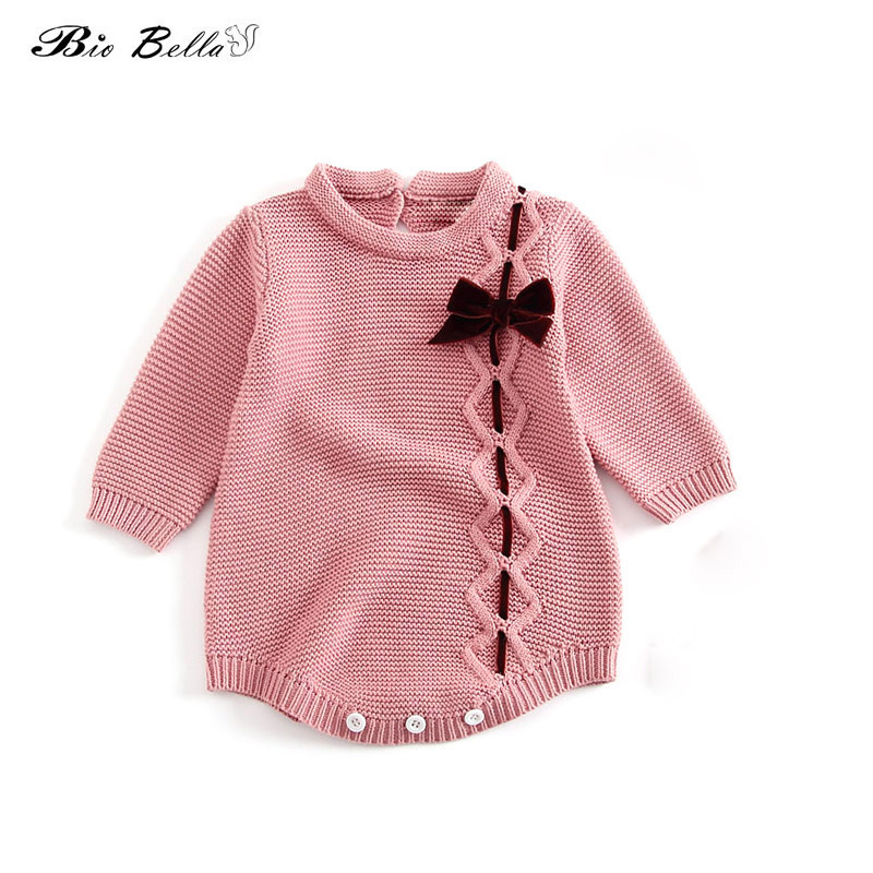 Girls Knitted Bodysuit Newbron Baby Girls Butterfly Bowtie Der Cotton Long Sleeve Jumpsuit Spring Autumn Infantil Clothes