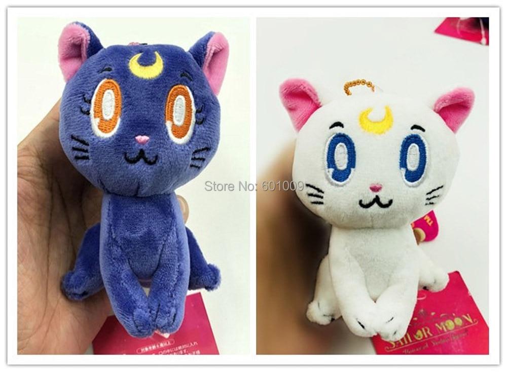 Free Shipping EMS 100 Lot 2 Colors Sailor Moon Cat Luna 10CM Plush Doll Keychain Pendant
