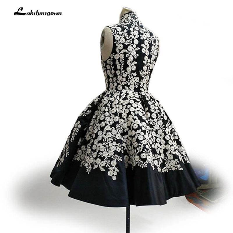 Högsta halsen Svart Aftonklänning Bollfärge Ärmlös Satin - Särskilda tillfällen klänningar - Foto 2