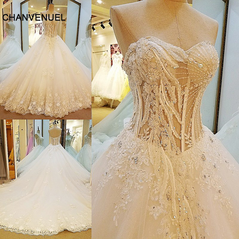 Ls23565 New Style Diamond Wedding Dress Strapless Lace Up