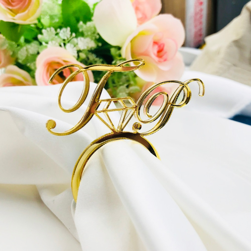 Personalized Acrylic Wood Gold Silver Laser Cut Napkin Rings with Heart Diamond For Wedding Party Table Decoration Birthday party (7)