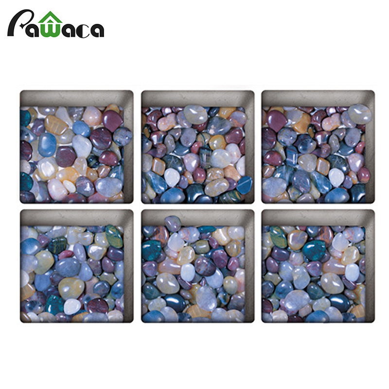 Creative 6 PCS 3D bath Stickers colorful Pebbles Series Non Slip Tattoos Tub Decals Appliques for bath decor real touch Stickers