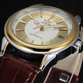 SEWOR marca diseño FRESCO de moda de lujo hombre de negocios de cuero mecánico automático esquelético de los hombres reloj militar reloj de pulsera de regalo