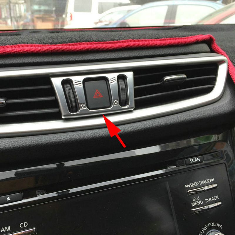 Chrome Car Dashboard AC Air Condition Switch Adjust Cover Trim For <font><b>Nissan</b></font> X-Trail Rogue Sport Murano <font><b>Qashqai</b></font> T32 J11 <font><b>Accessories</b></font> image