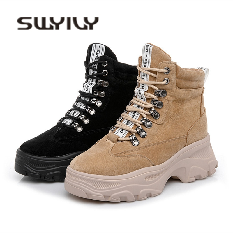 SWYIVY Woman Snow Boots Genuine Leather 2018 Winter Plush Fur Warm Female Casual Shoes Female Platform Warm Snowboots Snow Boots