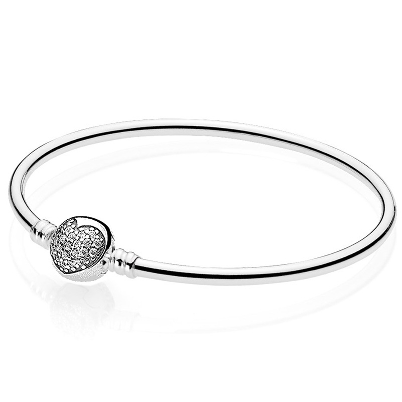 Authenetic 925 Sterling Silver Bangle Crystal Heart & Star Circular Clasp Clip Suitable Bracelet Fit DIY Charm Jewelry