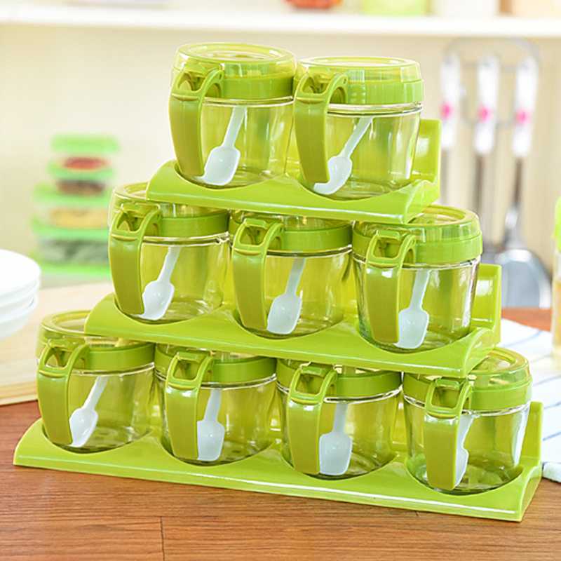 Creative Glass + Plastic cruets sets spice shaker + spoon four grid spice dispenser House Kitchen CookingTools,Free shipping.