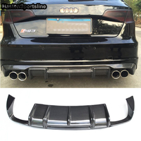 For Audi A3 8V 2013 2016 Carbon Fiber Rear Diffuser Lip Spoiler Only Sport Bumper S3 RS3 Sline