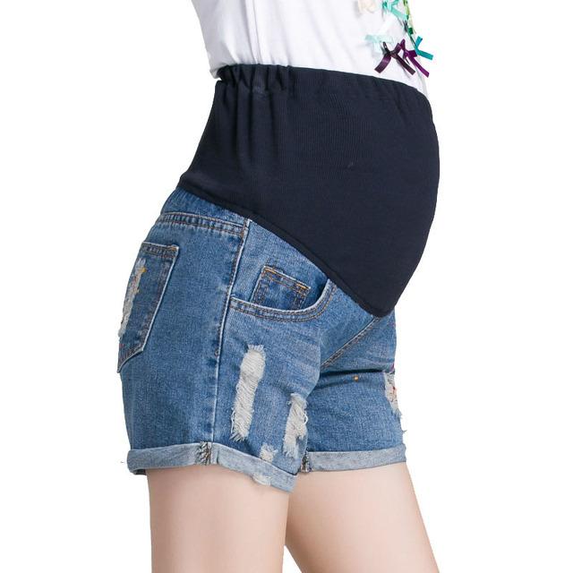 Denim elástico Pantalones Cortos Para Las Mujeres Embarazadas Ropa de Maternidad Embarazo Ropa de Cintura Alta Pantalones Vaqueros Cortos Nuevo 2017 de Verano