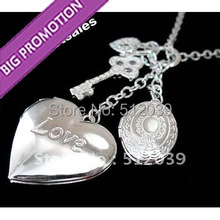 2014 Merry Christmas! Hot Sale 925 Plated New Fashion Key And Lock Heart-Shaped Pendant Necklace Cheap Vintage Jewelry Wholesale