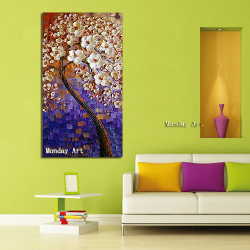 JJ 100-Handpainted-Abstract-White-Flower-Tree-Knife-Oil-Painting-On-Canvas-Thick-For-Home-Decor-As (1)