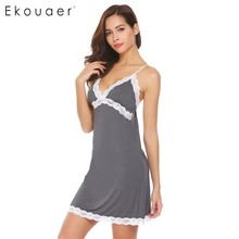 Ekouaer Women Sexy Backless Nightgown Lingerie Sleepwear Lace Trim Chemise Nightwear Full Slip Lounge Summer Sleep Home Clothes