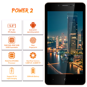"Image 3 - LEAGOO POWER 2 Face ID Fingerprint Smartphone 2GB+16GB Dual Camera 3200mAh Android 8.1 MT6580A Quad Core 5.0"" HD Mobile Phone"