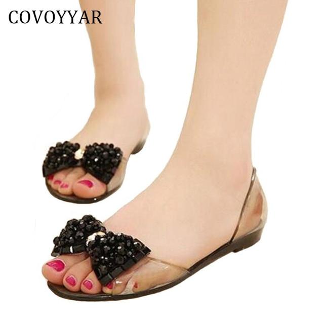 4a88947c2cfc7 2019 Bowtie Women Sandals Cute Jelly Casual Shoes Peep Toe Transparent Flat  Beach Summer Shoes Slip On Plus Size 40 WSS106