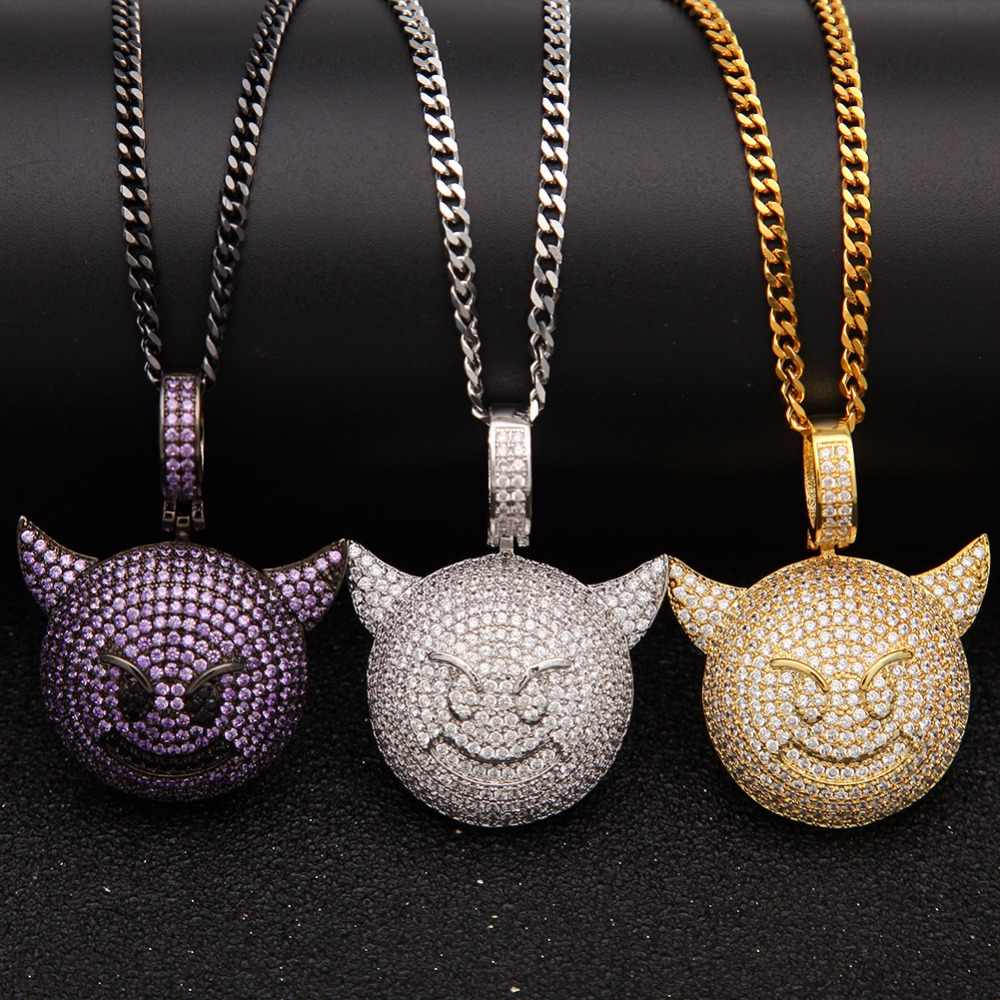 Micro Pave AAA Cubic Zirconia Emoji Little Devil Pendant Necklaces Men Hip hop iced out bling necklace fashion Hiphop jewelry
