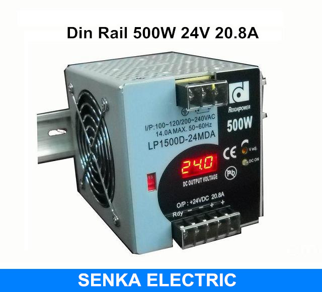 500 W 24 V 20.8A din rail alimentation à découpage alimentation à découpage avec moniteur d'affichage à LED smps MDR-500-24