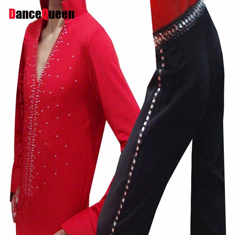 Men'S Latin Suit 2 Pcs Milk Silk Tops&Filament Yarn Pant&Rhinestone For Height:130-185cm Dance Costumes Men Free Custom Size knitting of silk filament and spun silk yarn