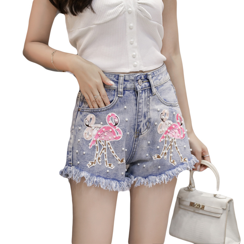 Waist 2018 Pants Denim High Embroidery Tassel Summer Casual Jeans Blue Fashion Beading Street New Shorts Women Europe Animal Female P5nTxYqP