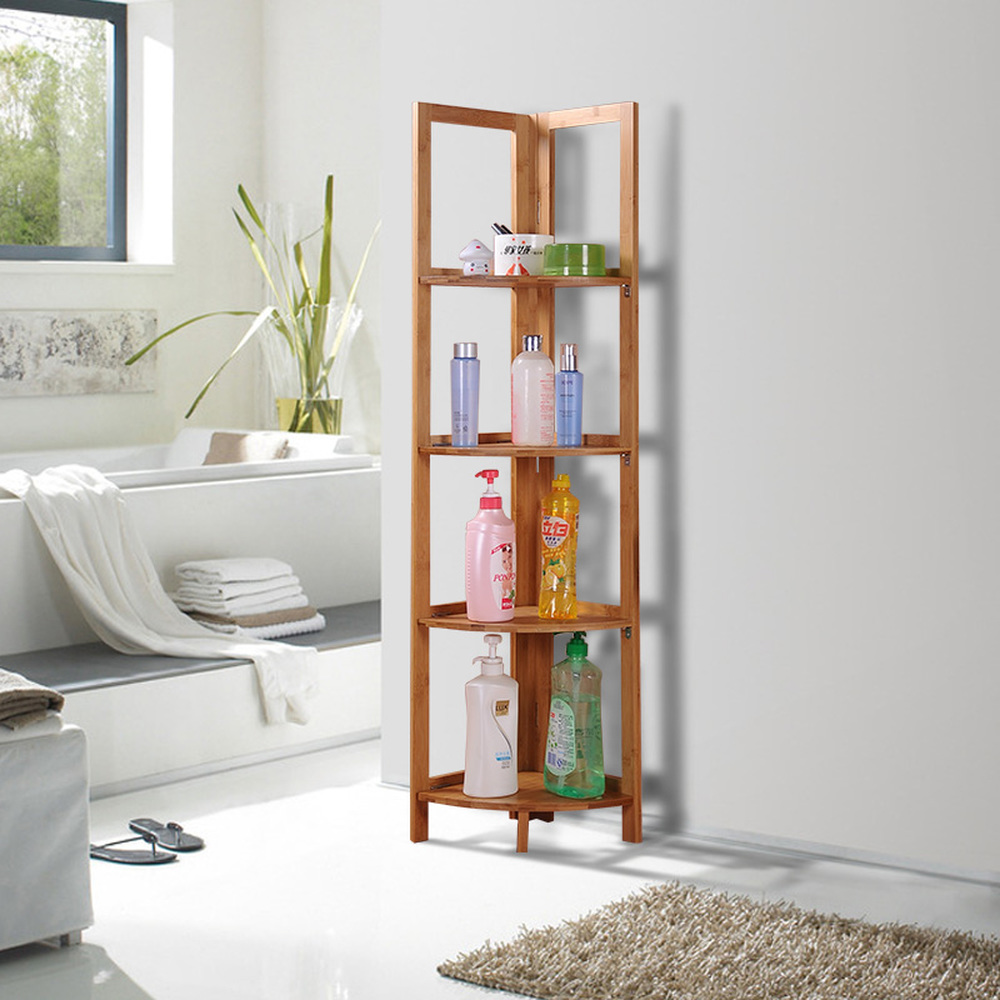 Bamboo and wooden floor shelf kitchen storage rack corner frame tripod bathroom corner frame finishing rack wx8151513 double celebration of finishing the cracks movable side refrigerator kitchen corner shelf plastic three shelves 1064